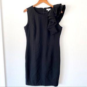 CALVIN KLEIN Ruffle Cocktail Dress Black Size 12